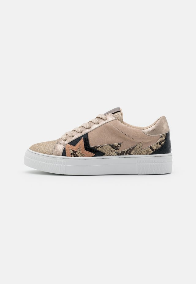 Sneakers laag - glitter beige/platino