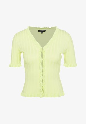 RIBBED FRILL KNITTED TOP - T-shirt imprimé - green