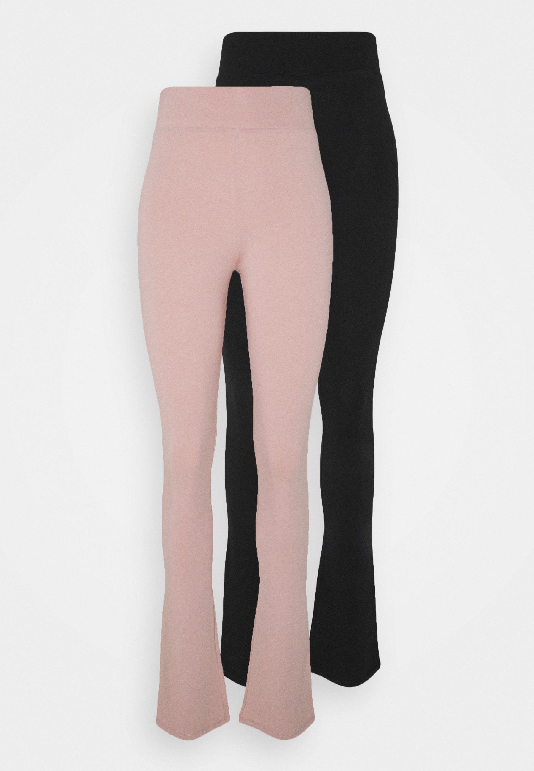 Damen ONLJOYFUL LIVE LOVE FLARE PANT 2 PACK - Stoffhose - adobe rose/black