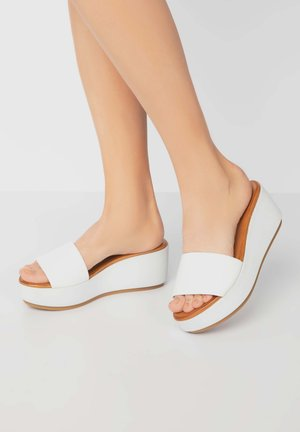 Sandalen met sleehak - white wht