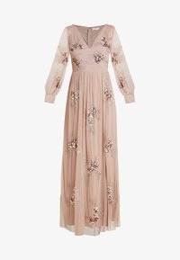 Maya Deluxe - PLUNGE FRONT ALL OVEREMBELLISHED MAXI DRESS WITH SPLIT - Occasion wear - taupe blush - 4