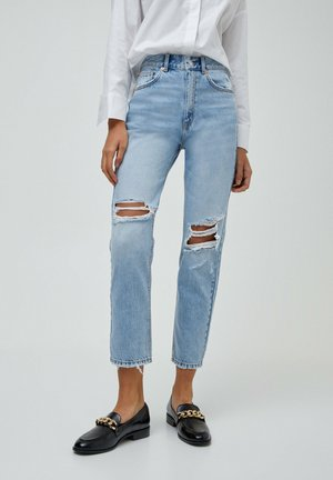 MOM - Jeansy Relaxed Fit - mottled light blue