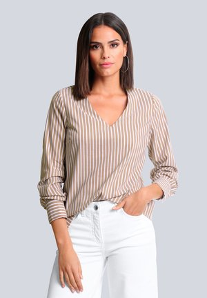 Blouse - taupe weiß