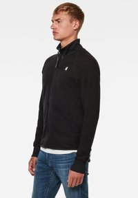 G-Star - JIRGI ZIP TAPE DETAIL FUNNEL LONG SLEEVE - Cardigan - dk black/raven - 2