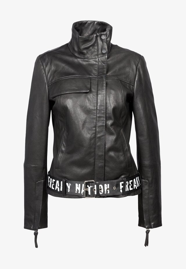 LOOK AND FEEL - Leather jacket - black