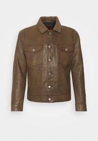WORKWEAR TRUCKER - Kožená bunda - brown