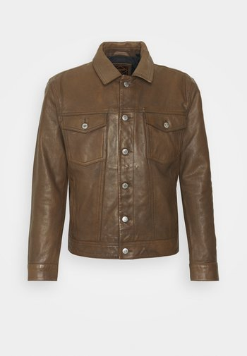 WORKWEAR TRUCKER - Leather jacket - brown