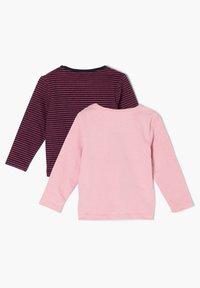 s.Oliver - 2 PACK  - Long sleeved top - pink stripes/light pink placed print - 1
