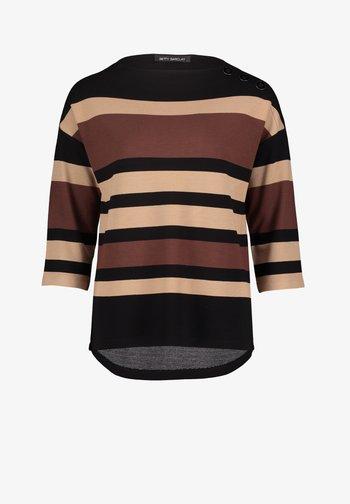 MIT STREIFEN - Sweatshirt - black/camel