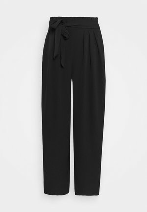 Basic belted wide leg pants - Broek - black