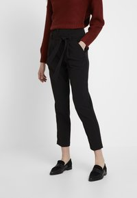 New Look - MILLER TIE WAIST TROUSER - Tygbyxor - black - 0