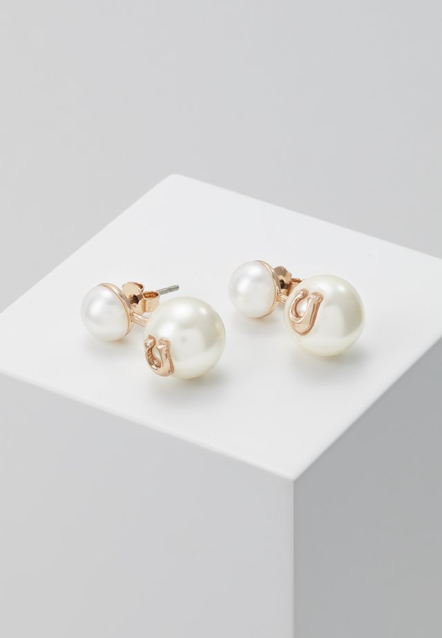 SCULPTED PEARL DROP STUD - Oorbellen - rose gold-coloured
