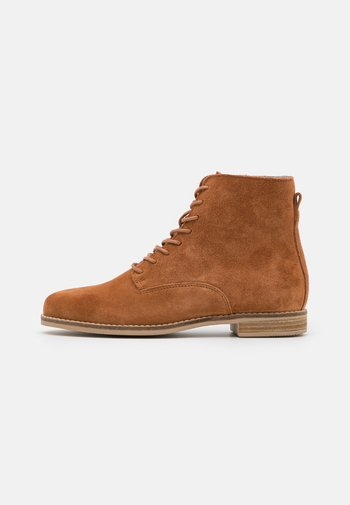 LEATHER - Lace-up ankle boots - cognac