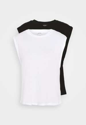 CHRIS 2 PACK - Basic T-shirt - black dark/white light
