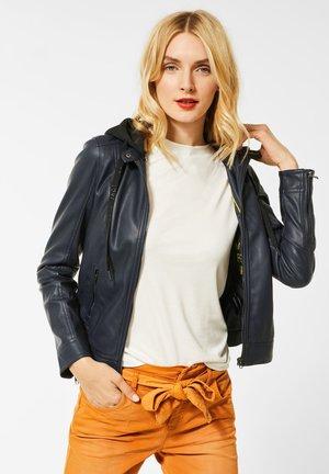 MIT KAPUZE - Faux leather jacket - blau