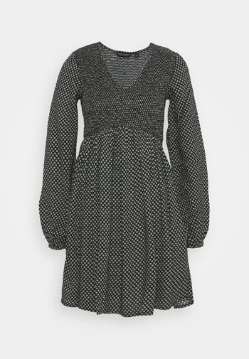 DITSY SHEERED MINI FIT AND FLARE - Robe d'été - black