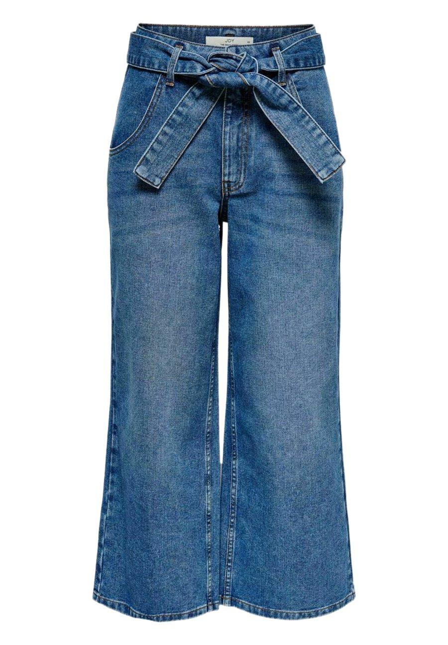 Damer JDYTRACY LIFE HW WIDE BELT ANKLE MB DNM - Jeans Bootcut