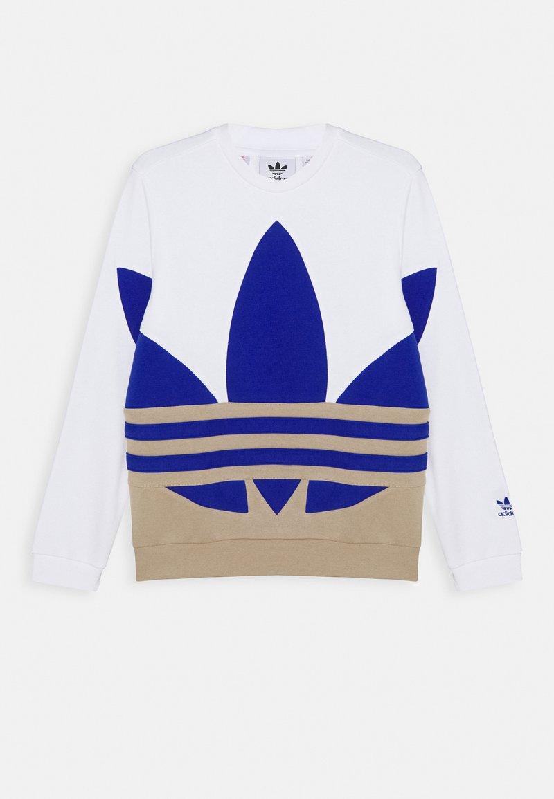 adidas Originals - BIG CREW - Felpa - white/khaki/blue