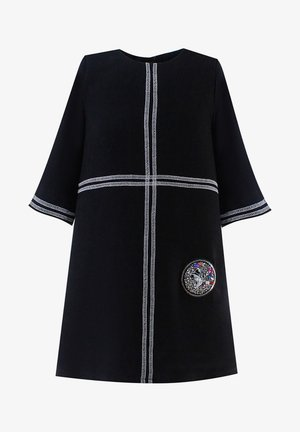 WITH WHITE LINES - Day dress - black