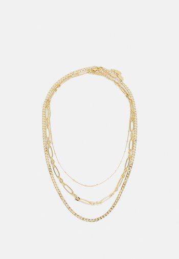 SATELLITE OVAL FLAT CURB LAYERED ROW 3 PACK - Necklace - pale gold-coloured