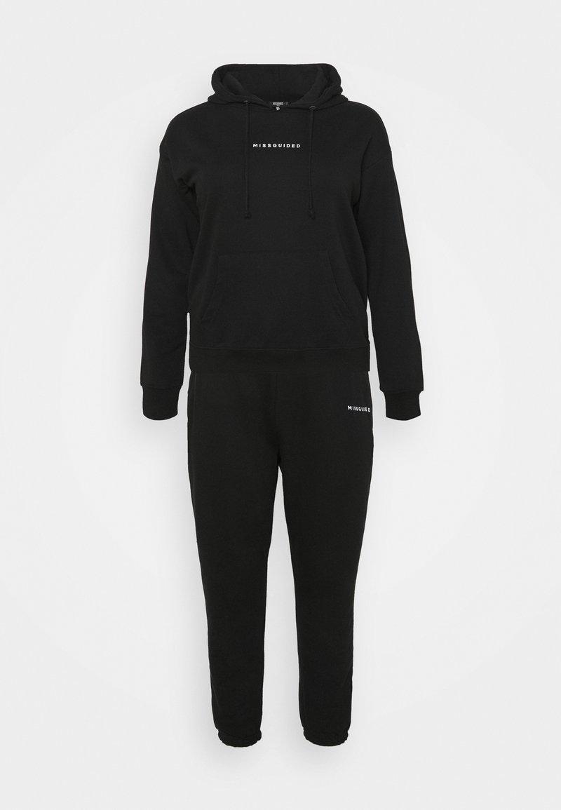 Missguided Plus - HOODIE JOGGER SET - Sweater - black