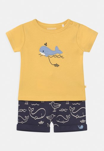 SET - Printtipaita - yellow/dark blue
