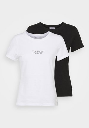 SLIM FIT 2 PACK - T-shirt imprimé - black/bright white