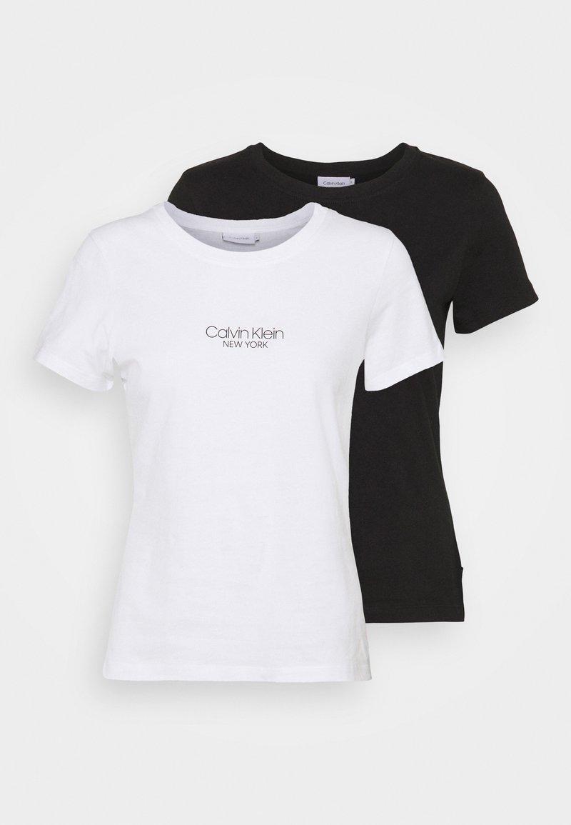 Calvin Klein - SLIM FIT 2 PACK - T-shirt z nadrukiem - black/bright white
