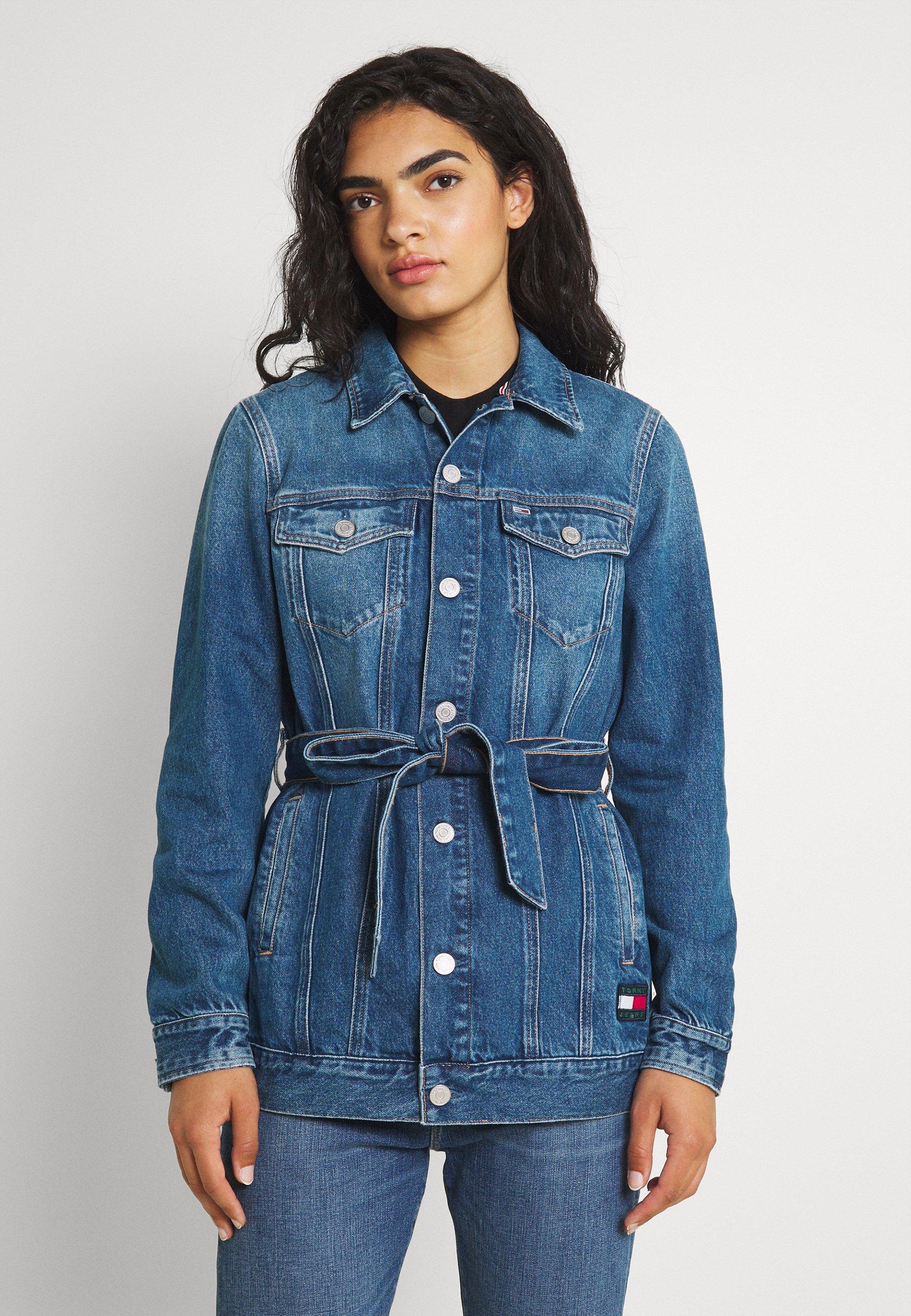 Women LONG BELTED TRUCK - Denim jacket