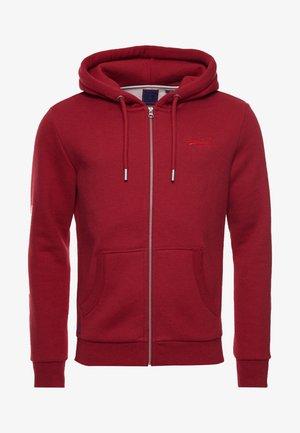 VINTAGE LOGO - Zip-up sweatshirt - rich red marl