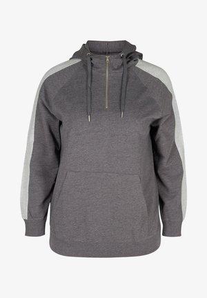 MED HÆTTE OG LOMME - Hoodie - dark grey melange