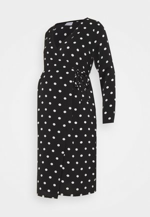 MLEVA WRAP DRESS - Jerseyjurk - black/white dots