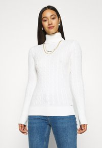 Superdry - CROYDE CABLE ROLL NECK - Jumper - winter white - 0