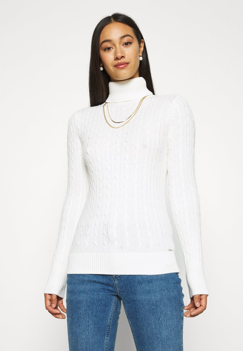 Superdry - CROYDE CABLE ROLL NECK - Jumper - winter white