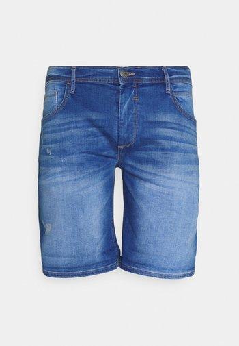SCRATCHES - Denim shorts - clear blue