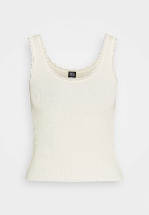 PICOT TANK SOLID - Topper - creme