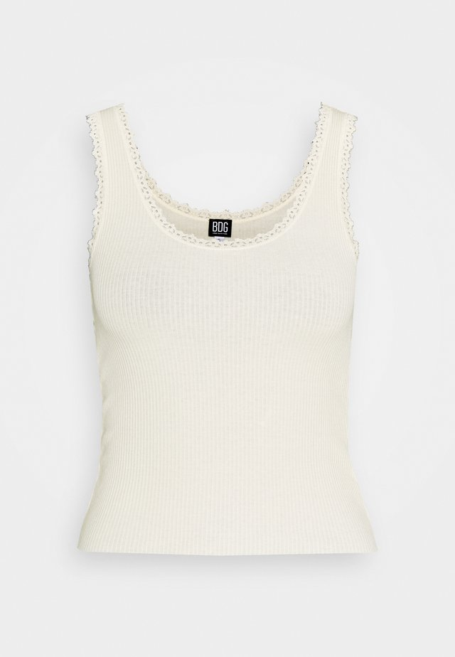 PICOT TANK SOLID - Toppe - creme