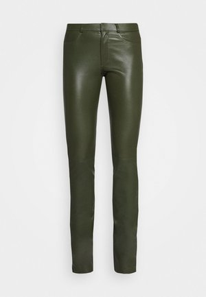 LUCILLE - Leather trousers - green
