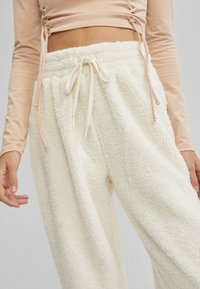 Bershka - Tracksuit bottoms - white - 3