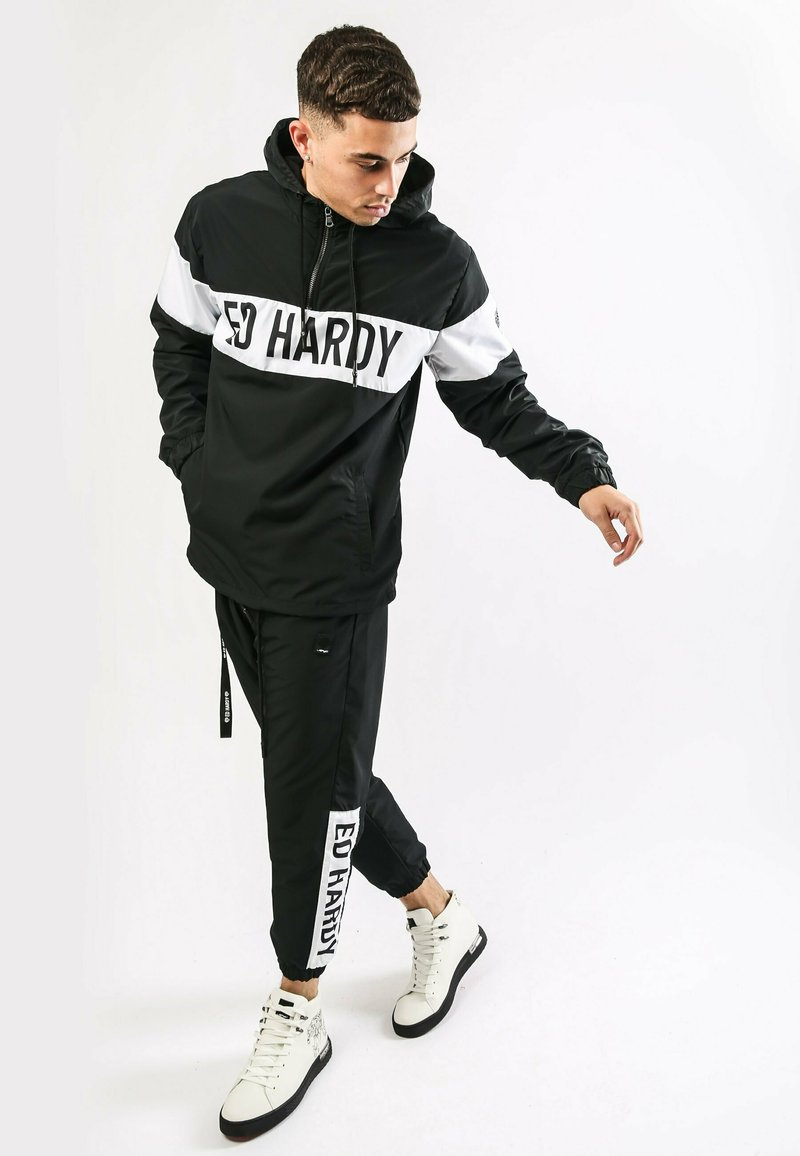 Ed Hardy - PANEL-PANT NYLON LINED PANT - Tracksuit bottoms - black/white