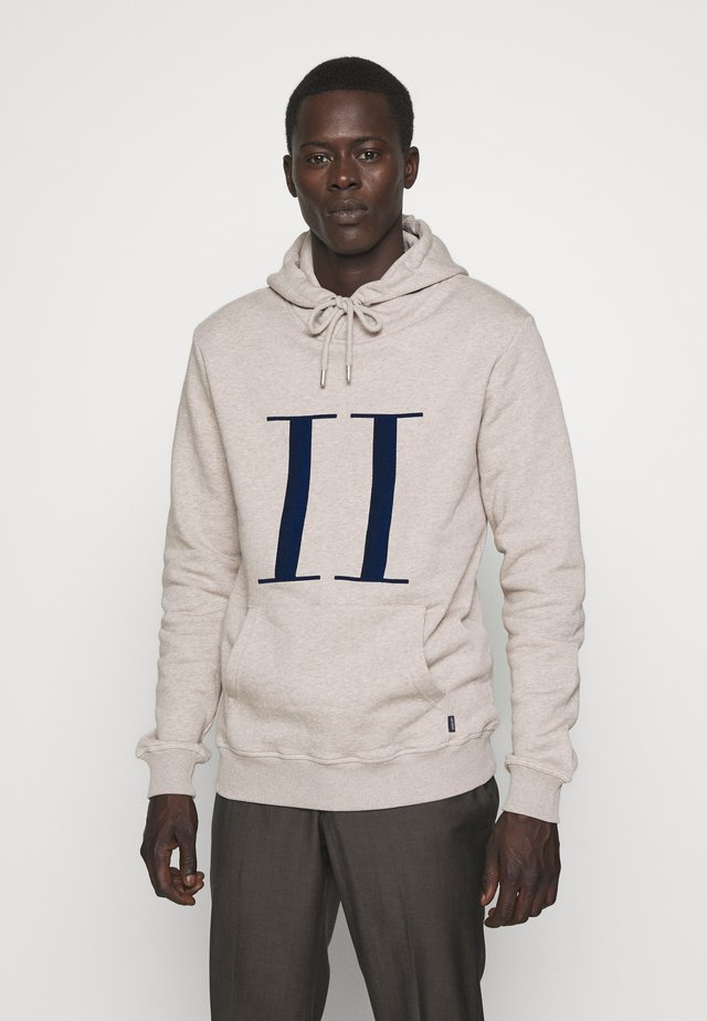 ENCORE HOODIE - Mikina s kapucí - light brown melange / navy