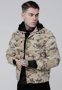 SIKSILK - COLLARLESS JACKET - Denim jacket - desert - 0
