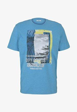 FOTOPRINT - Print T-shirt - aqua blue grindle melange