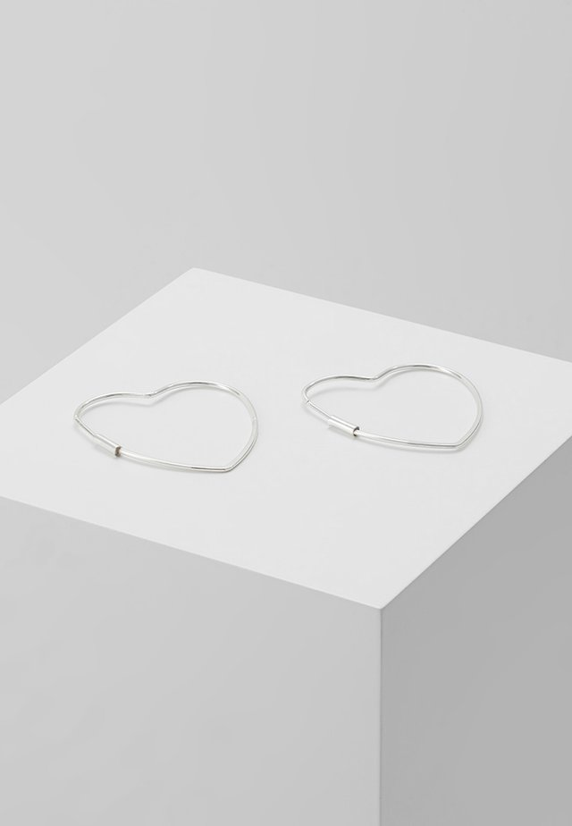 HEART HOOP EARRINGS - Øredobber - silver-coloured