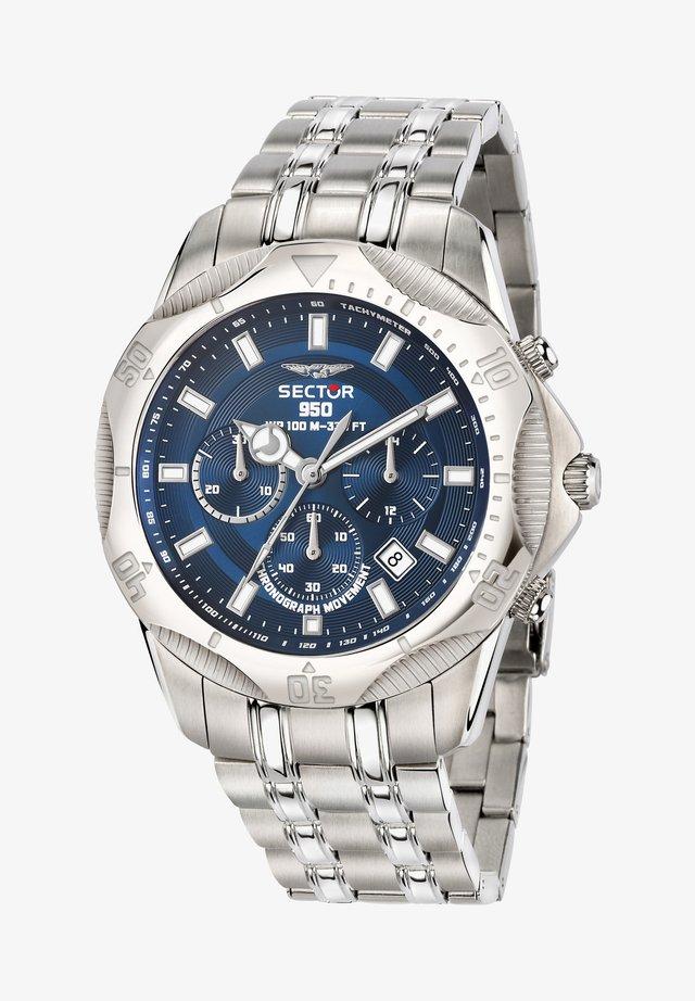 Chronograph watch - silber/blau