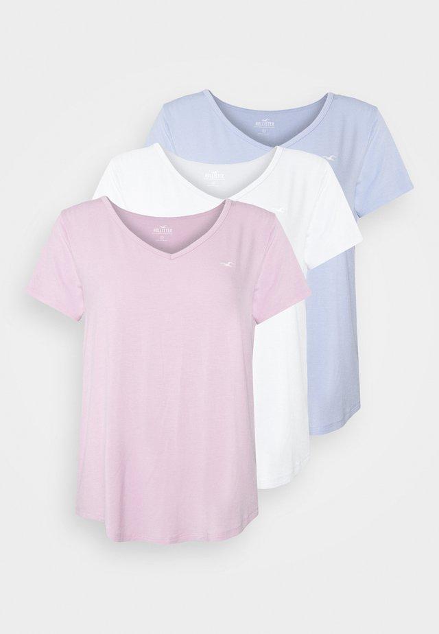 EASY MULTIPACK  3 PACK - Basic T-shirt - white/pink mist/xenon blue