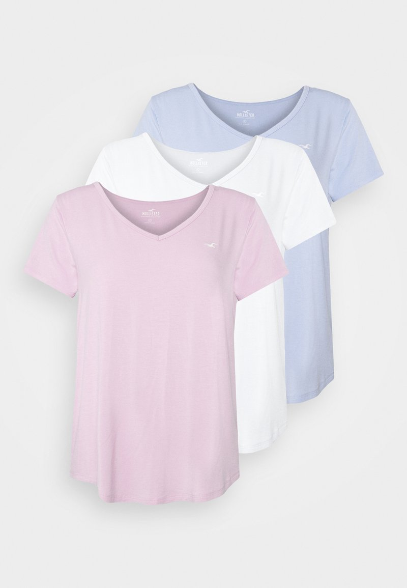 Hollister Co. - EASY MULTIPACK  3 PACK - T-shirt - bas - white/pink mist/xenon blue