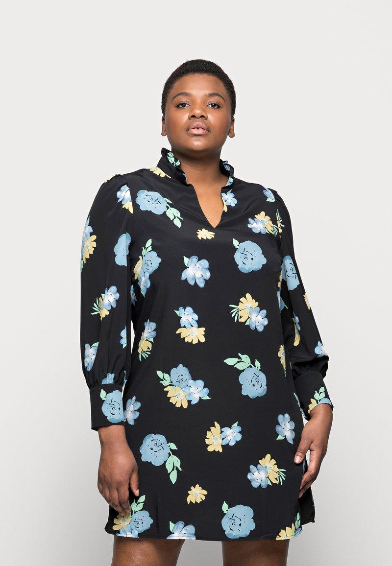 Glamorous Curve - GATHERED DRESS WITH PUFF LONG SLEEVES - Kjole - black