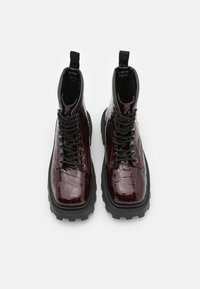 Topshop - BAE SQUARE TOE LACE UP - Lace-up ankle boots - burgundy - 5