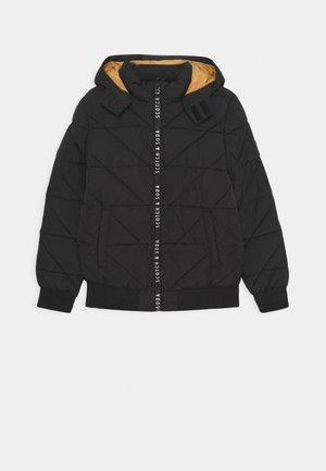 HOODED JACKET WITH PADDING AND BRANDED ZIPPER - Winter jacket - black